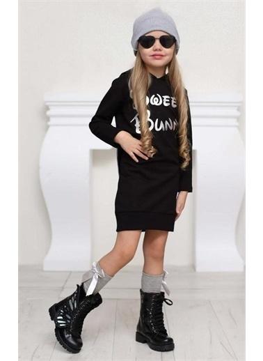 Riccotarz Kız Çocuk Sweet Bunny Tavşan Kulaklı Elbise Siyah